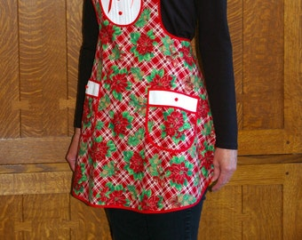 Apron Red and Green Plaid Holiday Retro Style-Size Small