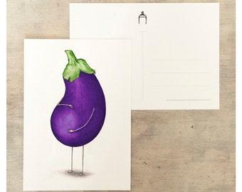 Pregnant eggplant postcard