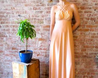 1970s Prom Dress - Maxi Dress - Peach - Poly - Jacket - Cross Straps - Disco - Cross Straps - -
