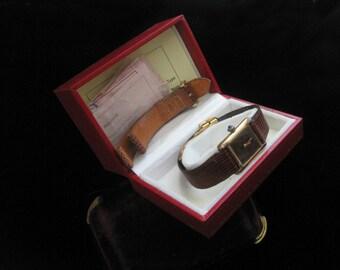 Vintage Cartier Watch Must de Cartier 18k GP Tank Women's Wristwatch Leather Strap Sapphire Dial Eighteen Karat Designer Original NIB