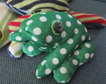 "Bean Bag Frog, fun toy for boys or girls, 8""-9"" long, upcycled, stuffed animal, floppy frog, toy frog"