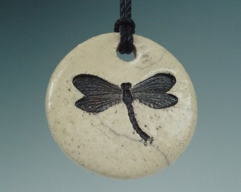 Raku Ceramic Dragonfly Necklace