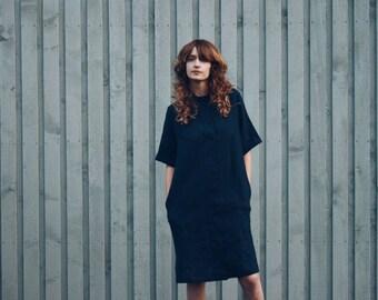 Navy Blue Linen Dress - Oversized Shirt Dress - Loose - Fitting Dress -  Handmade by OFFON