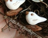 RESERVED Thumbnail white Dove pair- polymer clay bead. white dove. rustic realistic woodland bead. folk art birds. Jettabugjewelry