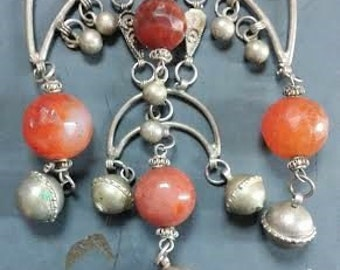 Antique Authentic Rajasthani Tribal Pendant with Bells and Carnelian/Quartz