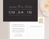 Minimal Save the Date Postcard / Magnet / Flat Card - Wedding Save the Date, Black & White Wedding, Clean Save the Date, Chic Save the Date