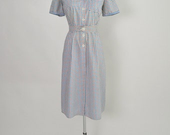 Vintage 1940s 40s Cotton Print Dress Feed Sack Size Large House Dress