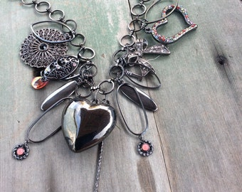 All Heart Charm Necklace/Statement/Boho/Cottage Chic