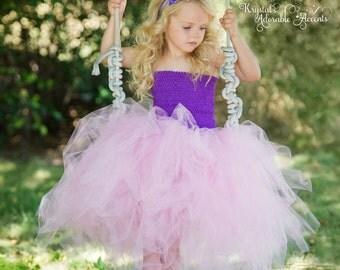 Pink and Purple Flower Girl Wedding or Birthday Tutu Dress