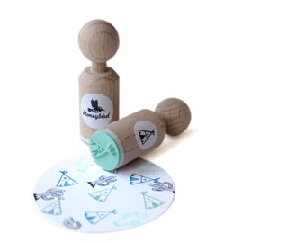 Tepee Mini Stamp with mint rubber, tepee ink stamp, tepee stamp, tepee rubber stamp