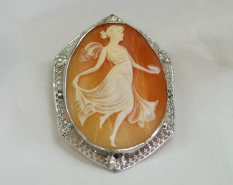Vintage 1920s Hand Carved Shell Cameo of a Full Woman in a Grecian/Roman Dress Convertible Pendant and Brooch in a Filigree Frame