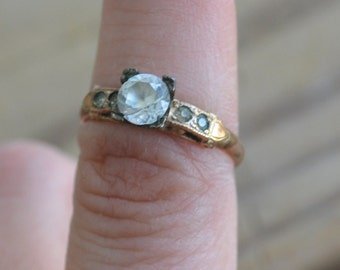 Lovely early antique 14k gold filled white diamond paste edwardian art deco engagement ring / solitaire / wedding / steampunk / DFWIKO