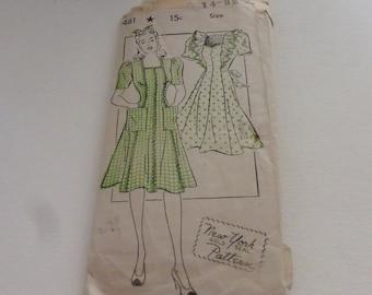 Vintage New York Pattern Company 1461 Misses House Dress Size 14