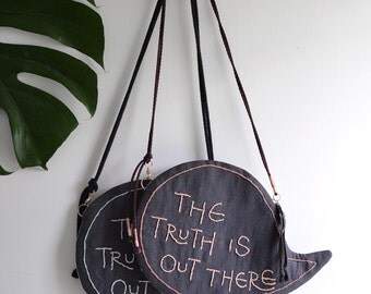 The Truth Is Out There - simple shoulder bag/clutch, message bag