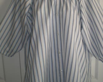 Peasant Blouse upcycled from a men's shirt, 54 inch, Large, white with blue and black stripes