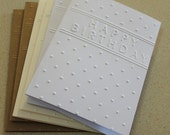 Birthday card mixed set, set of six embossed cards in white, cream, and kraft paper