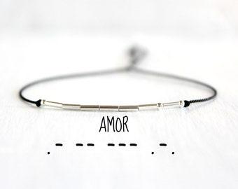 Amor Morse Code Bracelet Minimalist Dainty Friendship Love Jewelry Sterling Silver Beaded Black Silk Cord Bracelet
