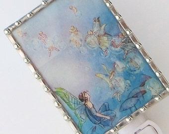 Fairy Night Light - Nursery Rhyme Night Light - Blue Children's Lighting - Child Fantasy Stained Glass Nightlight - New Baby Shower Gift N93
