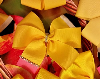 Pencil Ribbon Hair Bow - September is Childhood Cancer Awareness Month - Go Gold