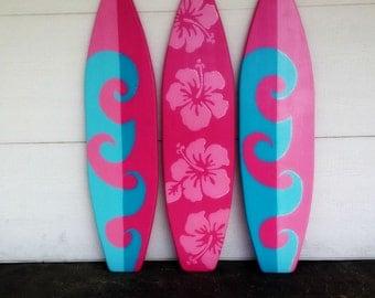 THREE of my 4 foot Wood Hawaiian wall art decor Surfboards or Headboard kids room Wave & flowers with glitter accents
