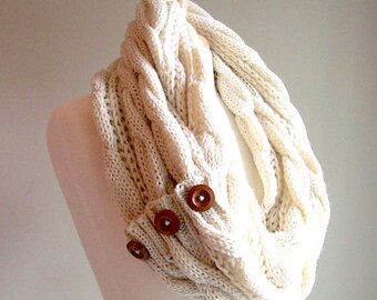 Infinity Scarf Braided Cable Lightweight Knit Circle Loop Ivory Cream Neckwarmer Scarves with Buttons  Women Girls Accessories