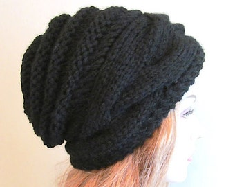 Instant Download PDF Knitting Pattern Braided Cable Slouchy Beanies Berets Beehive Hats Womens Girls