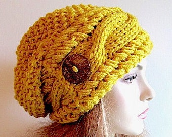 Mustard Gold Slouchy Beanie Slouch Cable Hats Oversized Baggy Yellow Beret Button womens fall winter accessory Chunky Hand Made Knit