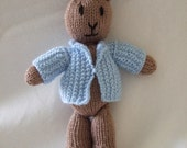 Baby, Toddler, Children, Unisex Brown Rabbit Soft Toy Doll.  Blue Jacket - suitable from birth. Baby shower gift, Holiday gift. waldorf