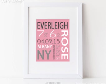 Pink and Gray Nursery Art - Baby Girl Nursery Decor - Birth Announcement Wall Art - Personalized Baby Name Art - Birth Details Art Print