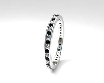 Black and white diamond eternity wedding band made from white gold, black diamond ring, diamond wedding band, unique, gothic wedding ring