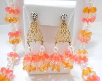Vintage Orange & Crystal Colored Spacers Demi Parure (2262) Necklace And Double Dangle Clip Earrings