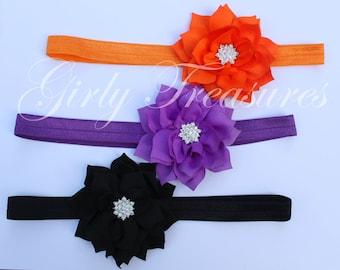 Halloween Flower Headband Set. Baby Headband. Girl Headband. Infant Headband. Newborn Headband Set. Photo Prop.