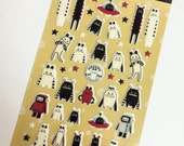"Kawaii Super Cute ""Kira Kira 3"" Robot Alien Puffy Stickers - Perfect for scrapbooking, card-making, dairy, journaling, etc."