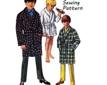 """Simplicity 8471 Teen Boy's Shawl Collar Wrap Robe Sewing Pattern Size 14 Chest 32""""/ 81cm  Vintage 1960s"""