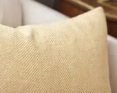 Gold Herringbone Pillow - Harvest Gold Pillow Cover - Woven Solid Throw Pillow - Herringbone Pillow Cover - Gold Home Decor