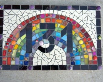 Rainbow Mosaic House Number,3 digit, street sign,house plate,address sign,number plaque,outdoor house sign,handmade,yard sign,custom,bespoke