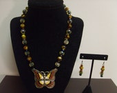 TWO PIECE SET-African Butterfly Tribal Beaded Necklace and Earring Set by Mich Rich (Tribal and True Collection)