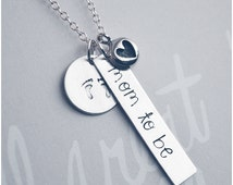 Mom-to-Be Necklace - Sterling Silver Expecting Mom Jewelry - Coming Soon Stamped Necklace - Baby on Board Necklace - Baby Shower Gift