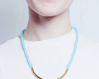 Blue Moon - Long necklace with golden bead