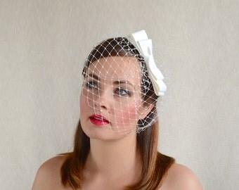 Cream Bridal Veil with Dupioni Silk Bow - Birdcage Veil- Ivory Bridal Headpiece