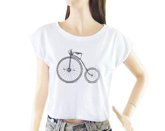 Antique High Wheel Bicycle shirt women shirt cropped tee crop tops