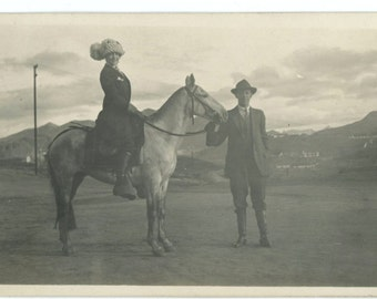 "Antique Snapshot Photo: ""Mo & Our Horse, October 1913"" (58397)"