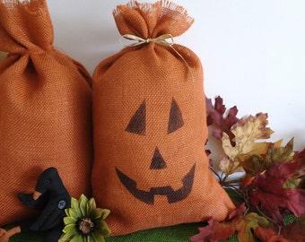 Fall decor, large burlap bag pumpkin pillow sack, primitive country, rustic autumn, Halloween decor, porch decoration, mantel