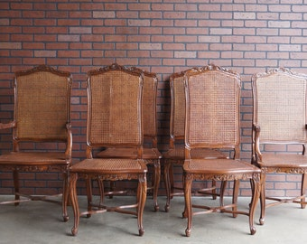 French Provincial Dining Chairs Cane 2 Arm