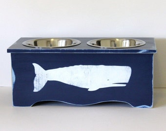 elevated dog feeder, coastal decor, beach decor, dog bowl