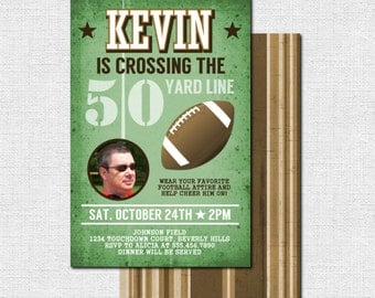 FOOTBALL BIRTHDAY INVITATIONS - 50 Yard Line Milestone Party, Any Age (print your own) 50th, 40th, 30th - Personalized Printable Files