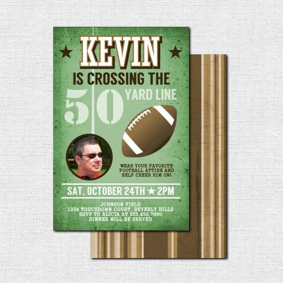 FOOTBALL BIRTHDAY INVITATIONS 50 Yard Line Milestone Party