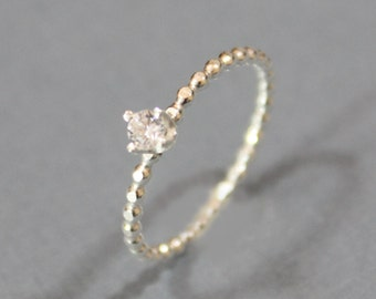 Sterling Silver Birthstone Stacking Ring - 3mm Cubic Zirconia Ring - April Birthstone Bead Ring