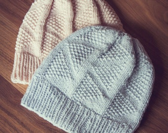 DREIECKE Hat Knitting Pattern Triangles Slouch Textured Geometric PDF
