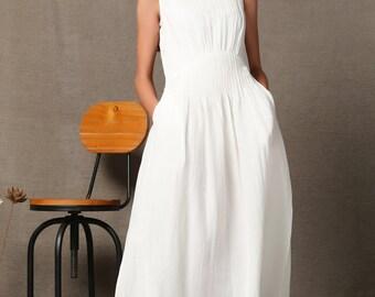 White Linen Dress - Maxi Length Fitted Sleeveless Tank Top Summer Sundress with Pintuck Waist & Side Pockets C538